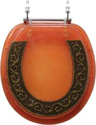 Mayfair Toilet Seats Bathroom Standard Round Orange Toilet Seat And Lid With Black And