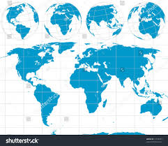 Blank Map Of Eurasia by Detailed Vector World Outline Map Globes Stock Vector 17138755
