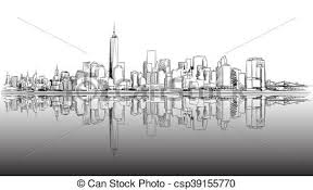 vectors illustration of new york city outline sketch with dark
