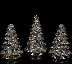 set of 3 illuminated mercury glass graduated christmas trees