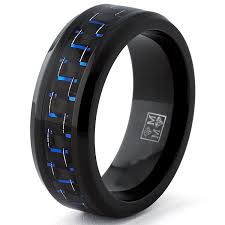 black titanium black titanium wedding band ring with black and blue carbon fiber