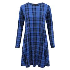 Womens Tartan Print Long Sleeve Swing Skater Dress Plus Size 8 26 New