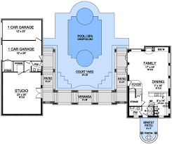 Floor Plans With Courtyard 2 Story Studio U0026 Courtyard 36329tx Architectural Designs