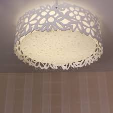 White Flush Ceiling Light Leaf Patterned Ceiling Flush Mount Light For Living Room
