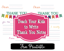 free printable thank you notes for kids fun happy home