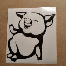 cute pig vinyl decal pig wall art pig car decal pig wall