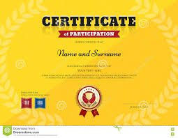 certificate of participation template in sport yellow theme stock