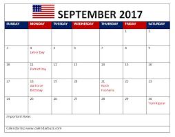 2017 us calendar printable september 2017 calendar with holidays printable usa uk canada