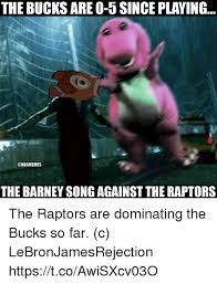 Barney Meme - the bucks are o 5 since playing the barney song against the
