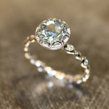 gold engagement ring settings floral aquamarine engagement ring in 14k white gold pebble