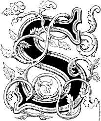 monogram letter s floriated initial capital letter s
