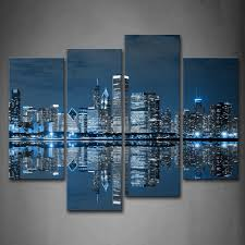 Shopping For Home Decor Amazon Com First Wall Art Blue Cool Buildings In Dark Color In