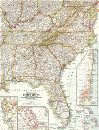 Map Of The Southern United States by Southeastern United States Map 1958 Maps Com