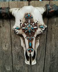 Cow Home Decor Rustic Western Cow Skull With Turquoise Embellishments 21 13
