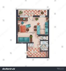 architectural color floor plan studio apartment stock vector