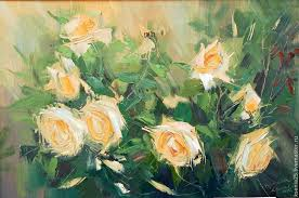 Peach Roses Buy Oil Painting Peach Roses On Livemaster Online Shop