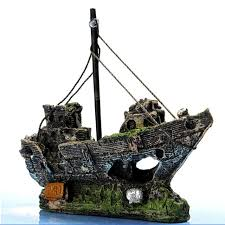 shop pirate boat aquarium landscaped fish tank cylinder