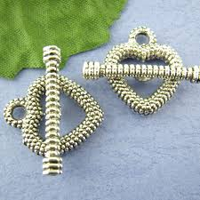 Toggle Clasps For Jewelry Making - 20sets silver tone heart dot toggle clasps fit necklaces bracelets