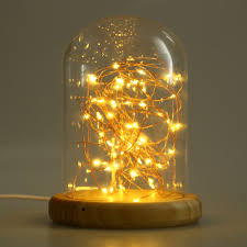 decorative light bulb covers usb led firework glass cover table light wood base l holiday