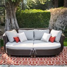 Curved Front Sofa by Belham Living Polanco Curved Back All Weather Wicker Sofa