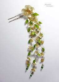 kanzashi hair pin christmas sale japanese tsumami kanzashi flower resin hair pin