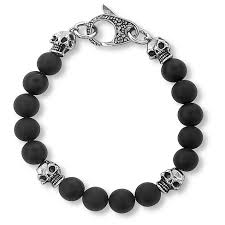 bead bracelet mens images Men 39 s crucible matte black onyx skull and beaded bracelet target
