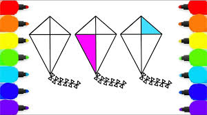 how to draw kite for baby coloring pages for kids learn colors