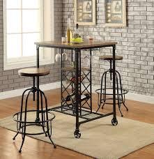 Oak Bar Table I 3pcs Industrial Medium Oak Metal Bar Table Set
