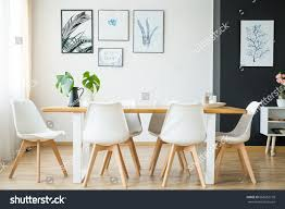 bright spacious dining room wooden big stock photo 668052778