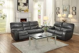 homelegance pecos reclining sofa set leather gel match grey