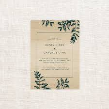 luscious fern wooden wedding invitations sail and swan studio