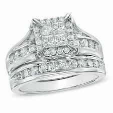 what are bridal set rings 1 1 2 ct t w princess cut diamond bridal set in 14k white