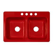 Shop CorStone Greenwich Gloss Red DoubleBasin Acrylic DropIn - Corstone kitchen sink