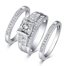 ring sets princess cut 925 sterling silver white sapphire 3 ring sets