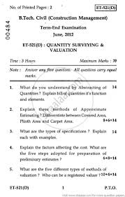 quantity surveying and valuation 2012 june engineering and