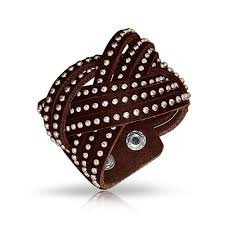 leather jewelry cuff bracelet images Beaded stainless steel studded brown leather cuff bracelet 7in jpg