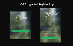 ios7 login register app responsive widget template by w3layouts