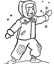 boy and snow coloring pages winter coloring pages of