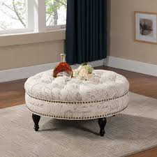 upholstered fabric ottoman coffee table furniture oval coffee