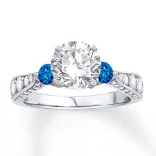 lab created engagement ring jared engagement ring lab created sapphires 14k white gold