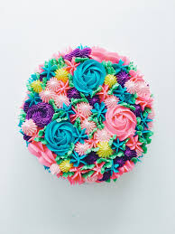 flower cakes piped rainbow buttercream flower cake coco cake land cake