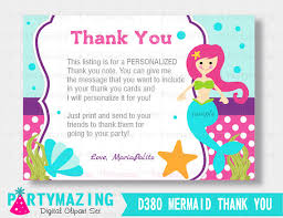 the sea party mermaid thank you card the sea party personalized