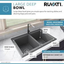 what size undermount sink for 33 inch base cabinet ruvati 33 x 22 inch epigranite dual mount granite composite
