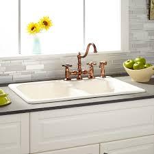Elgin  Bisque DoubleBowl Cast Iron Dropin Kitchen Sink - Kitchen sink cast iron