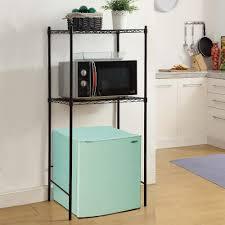 neu home 24 in w x 18 in d black microwave and mini fridge stand