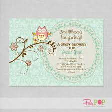 owl and baby green baby shower invitation pop