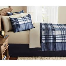 What Is A Bed Set Mainstays Indigo Plaid Bed In A Bag Complete Bedding Set Walmart
