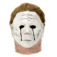 Michael Myers Mask Jamie Lee Curtis John Carpenter And Warlock Autographed