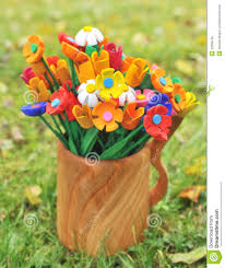 Wooden Flowers Bouquet Multicolored Wooden Flowers In A Vase Royalty Free Stock