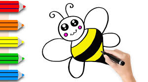 coloring pages bee drawing and art colors for kids with colored